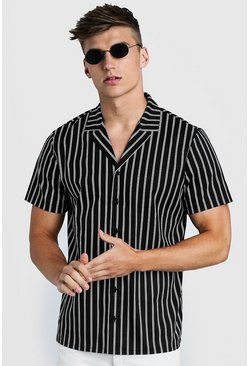 Mens Black Slim Stripe Oversized Short Sleeve Shirt