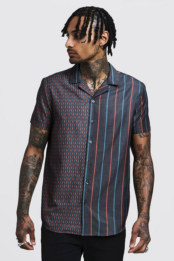 Mens Black Spliced Print Short Sleeve Revere Shirt