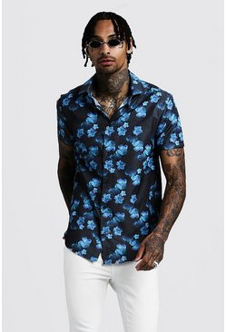Mens Cobalt Floral Print Short Sleeve Shirt