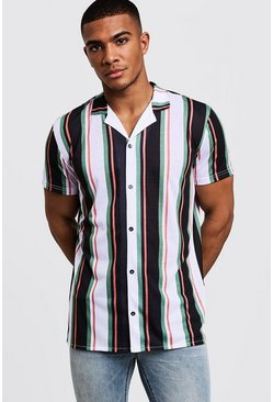 Mens Green Vertical Stripe Short Sleeve Revere Shirt