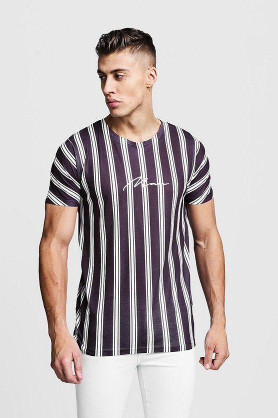 Black MAN Signature Stripe T-Shirt