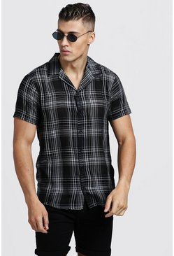 Mens Black Yarn Dye Check Short Sleeve Revere Shirt
