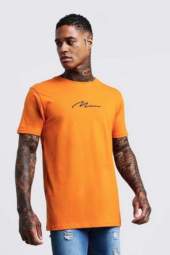 Orange MAN Signature Chest Embroidered Longline T-Shirt