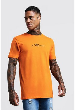 Mens Orange MAN Signature Chest Embroidered Longline T-Shirt