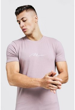 Mens Bark MAN Signature Embroidered Muscle Fit T-Shirt