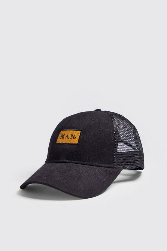 Black MAN Gold Box Embroidered Trucker Cap