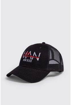 Mens Black MAN Dash Overlay Embroidered Trucker