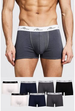 Mens Multi 7 Pack MAN Signature Mixed Colour Trunks