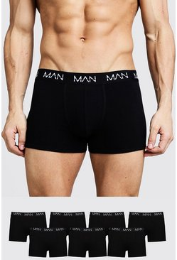 Mens Black 7 Pack MAN Trunks