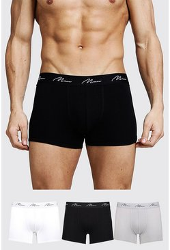 Mens Multi 3 Pack MAN Signature Mixed Colour Trunks