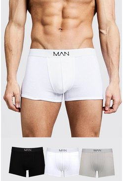 Mens Multi 3 Pack Mixed Colour MAN Trunks