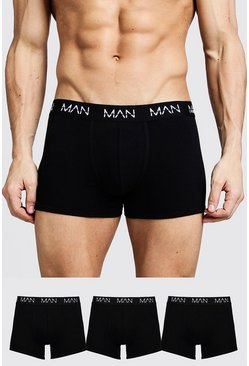 Black 3 Pack MAN Trunks