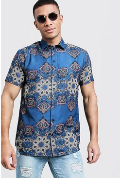 Mens Blue Tile Print Short Sleeve Shirt