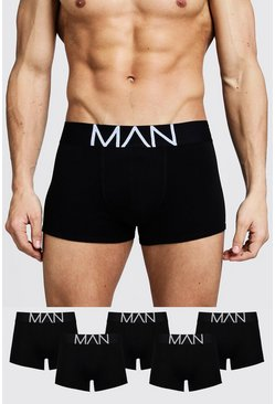 Mens Black 5 Pack MAN Trunks