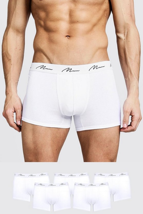 Mens White 5 Pack MAN Signature Trunks