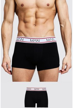 Mens Black 3 Pack MAN Sport Trunks
