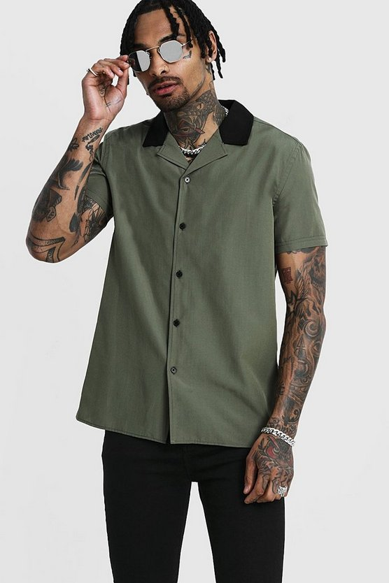 Revere Short Sleeve Shirt With Contrast Collar