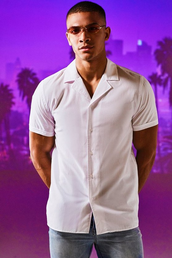Revere Collar Short Sleeve Shirt