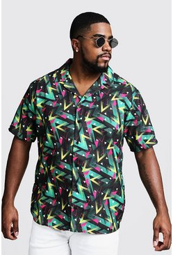 Mens Black Big & Tall Multi Print Revere Collar Shirt