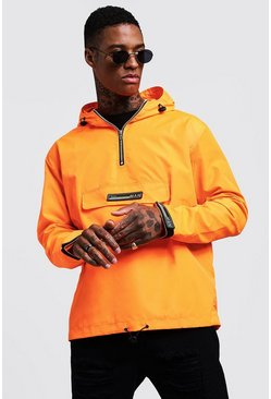 Mens Neon-orange Half Zip Hooded Cagoule