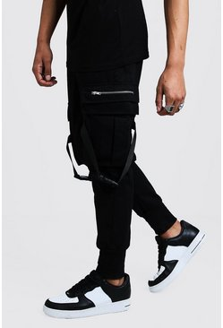 Mens Black Cargo Trouser With Strapping Detail