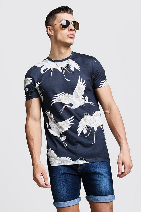 Mens Black Muscle Fit Crane Print Jersey Tee