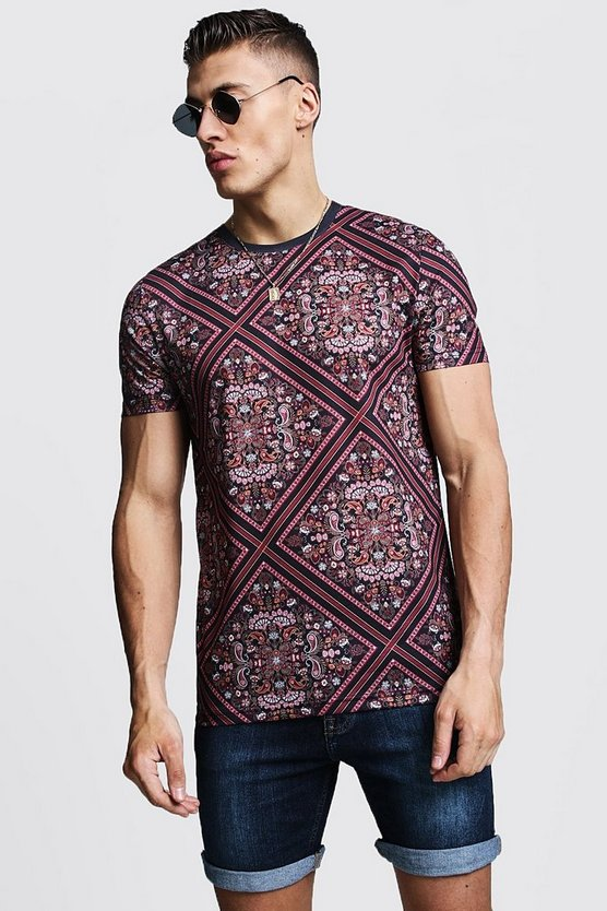 Muscle Fit Tile Print Jersey Tee