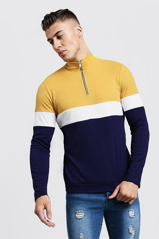 Colour Block Zip Turtle Ribbed Jumper