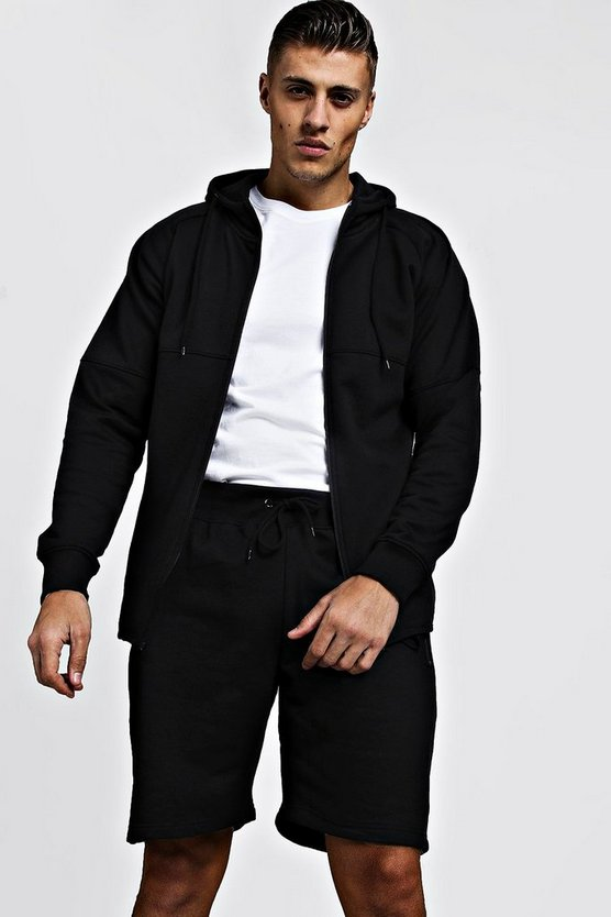 Mens Black Pique Zip Through Short Tracksuit