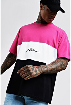 Oversized T-Shirt mit MAN-Namenszug im Colorblock-Design, Neon-pink, Herren