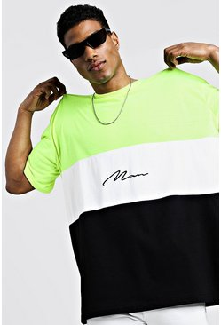 Mens Neon-green Oversized Colour Block MAN Signature T-Shirt