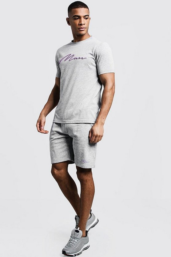 Ensemble short & t-shirt brodé MAN 3D, Gris, Homme