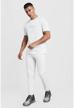 Mens Ecru 3D MAN Embroidered T-Shirt & Jogger Set