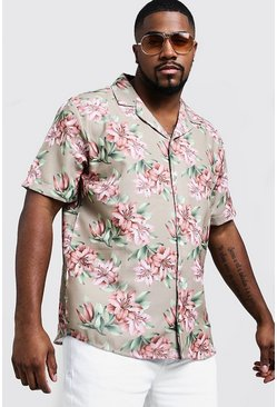 Mens Beige Big & Tall Washed Floral Print Shirt