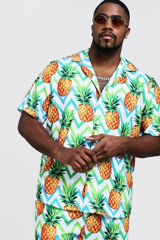 Mens Multi Big & Tall Pineapple Print Revere Collar Shirt
