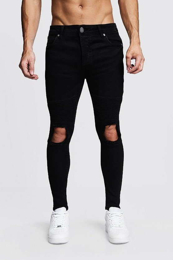 Skinny Fit Biker Jeans With Ripped Knee