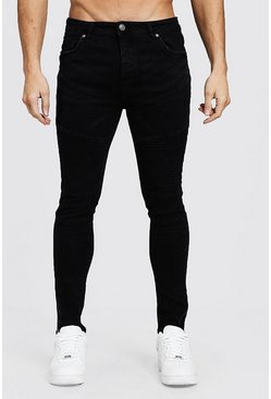 Mens Black Skinny Fit Biker Jeans With Zip Cuff