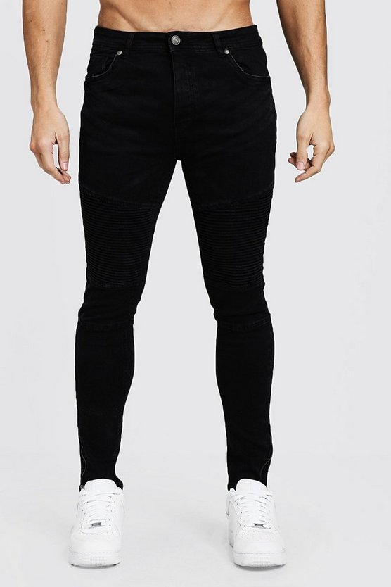 Skinny Fit Biker Jeans With Zip Cuff