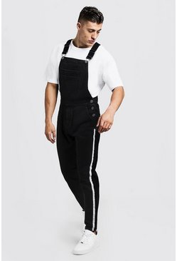 Mens Washed black Slim Fit Denim Overalls With Tape Detail