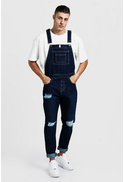 Mens Dark blue Slim Fit Distressed Overalls