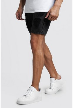 Slim-Fit Jeansshorts mit Destroyed-Look und Acid-Waschung, Anthrazit, Herren