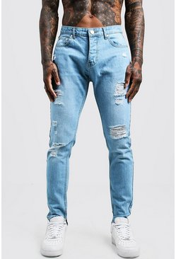 Mens Light blue Skinny Fit Rigid Jeans With Distressed Knees