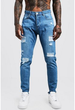 Mens Blue Skinny Fit Rigid Jeans With Distressed Knees