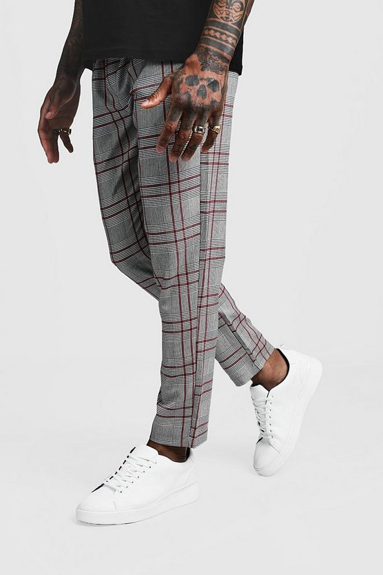 Smart Check Tape Detail Cropped Jogger