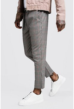Mens Brown Heritage Gingham Smart Cropped Jogger