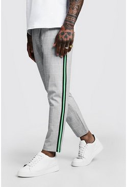 Mens Grey Windowpane Check Tape Cropped Smart Jogger