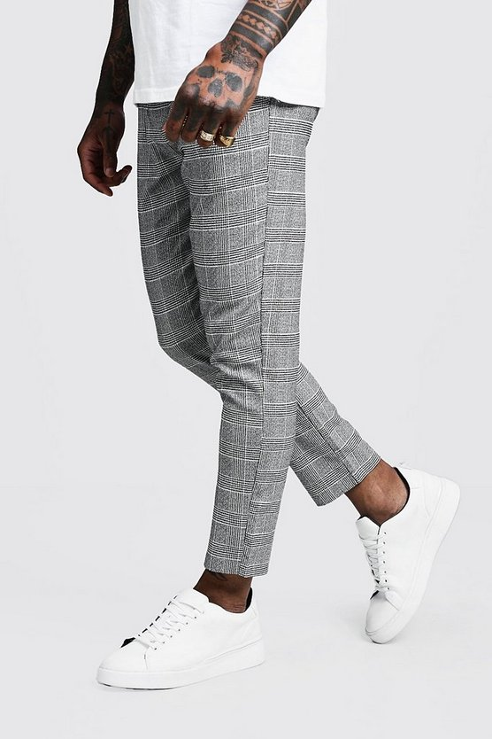 Black Jaspe Check Cropped Smart Jogger