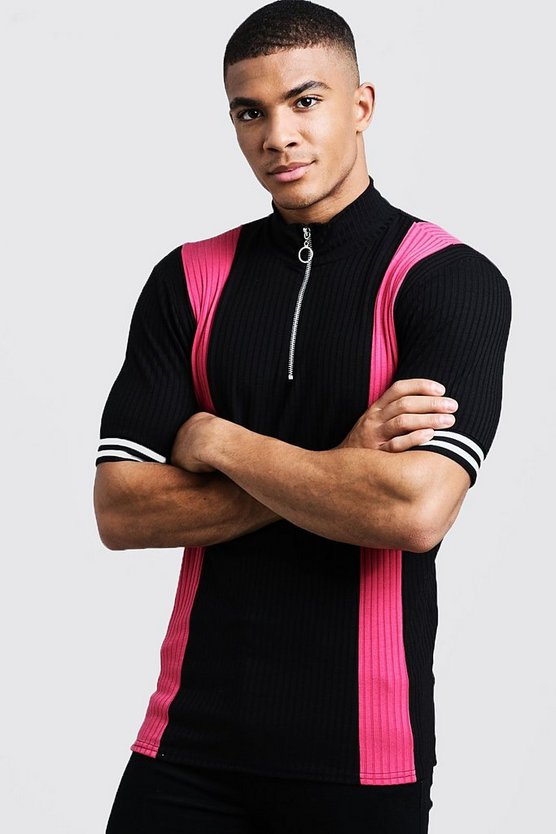 Ribbed Knitted Polo With Zip
