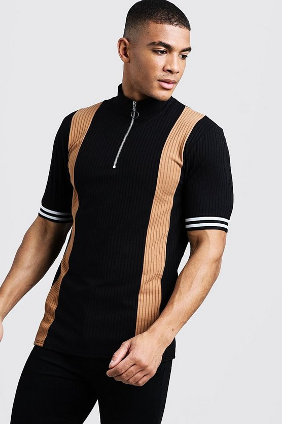 Ribbed Knitted Polo With Zips