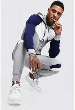 Navy Zip Through Colour Block Knitted Tracksuit